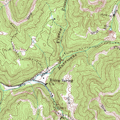 Topographic Map of Pigeon Roost Branch, TN