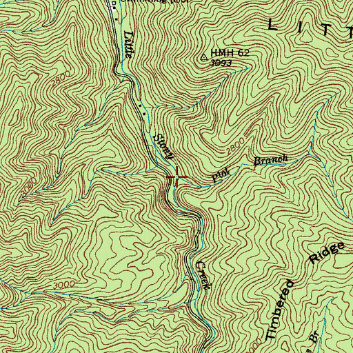 Topographic Map of Plot Branch, TN