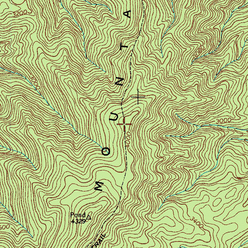 Topographic Map of Pond Mountain Trail, TN