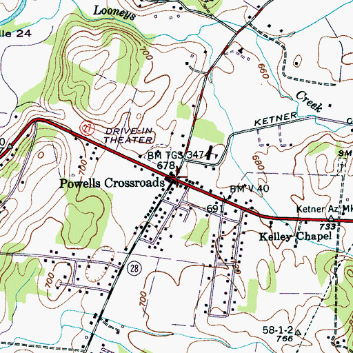 Topographic Map of Powells Crossroads, TN