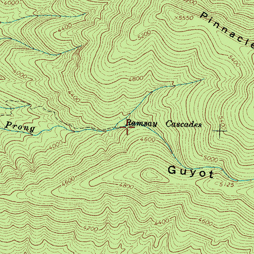 Topographic Map of Ramsey Cascades, TN