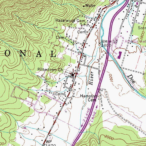 Topographic Map of Rittertown Church, TN