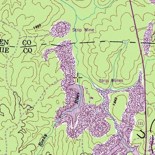 Topographic Map of Studer Lake Dam, TN