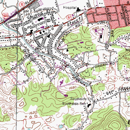Topographic Map of Bemberg, TN