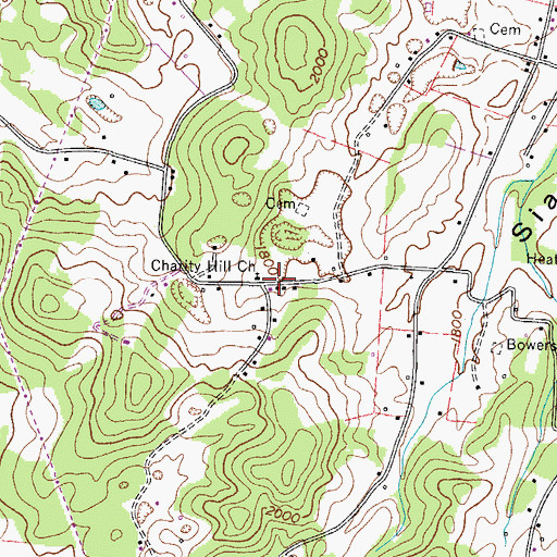 Topographic Map of Charity Hill, TN
