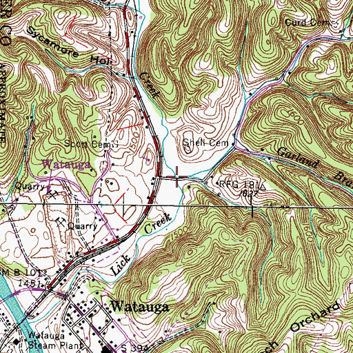 Topographic Map of Lick Branch, TN
