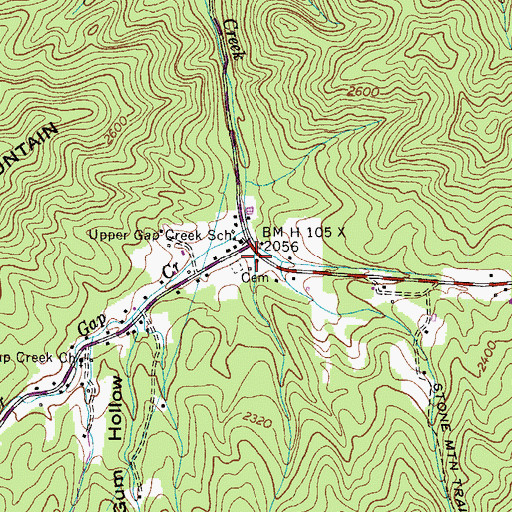 Topographic Map of Little Gum Hollow, TN