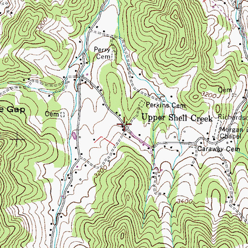 Topographic Map of Upper Shell Creek School (historical), TN