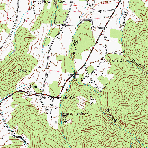 Topographic Map of Beck Branch, TN