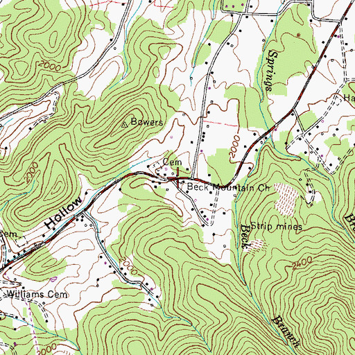 Topographic Map of Beck Mountain Church, TN