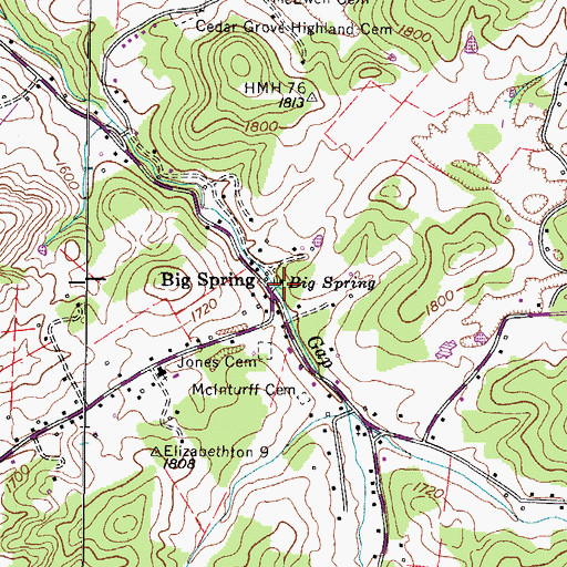 Topographic Map of Big Spring, TN