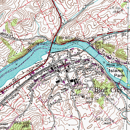 Topographic Map of Bluff City, TN