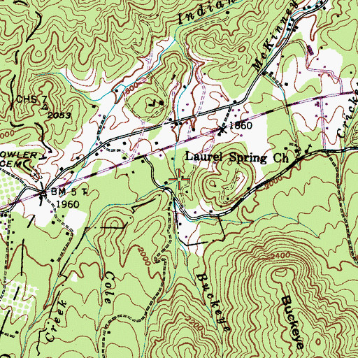 Topographic Map of Buckeye Creek, TN