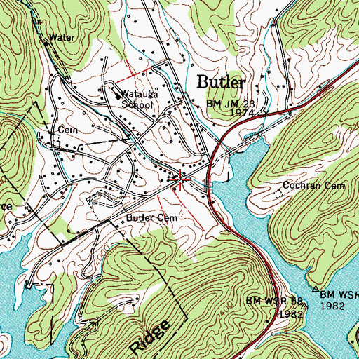 Topographic Map of Butler, TN