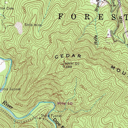 Topographic Map of Cedar Mountain, TN