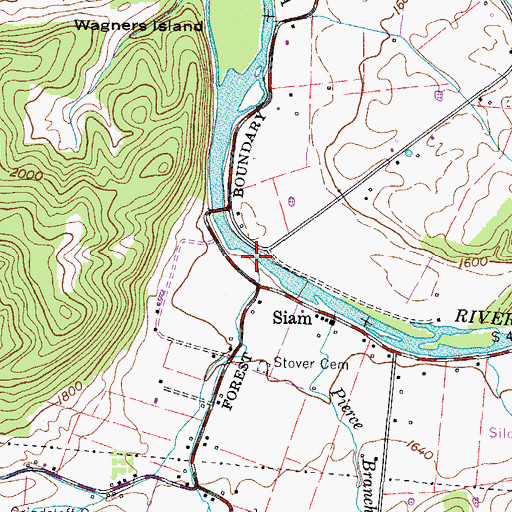 Topographic Map of Clover Branch, TN