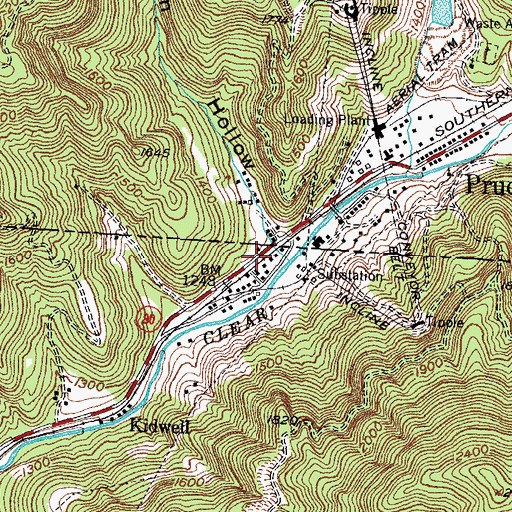 Topographic Map of Pruden, TN