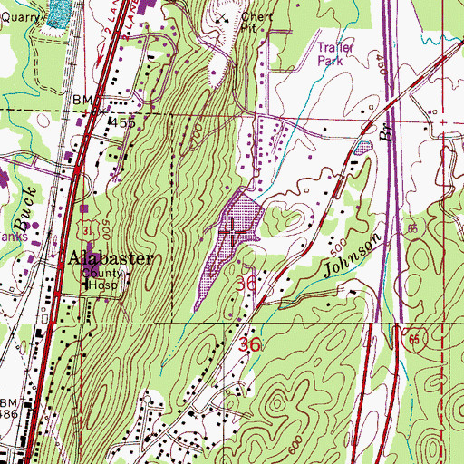 Topographic Map of Rutherford Lake, AL