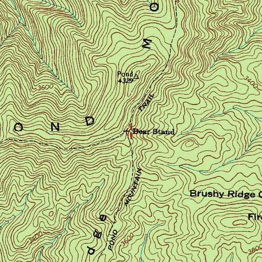 Topographic Map of Bear Stand, TN