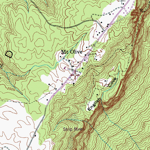 Topographic Map of Mount Olive Cemetery, TN