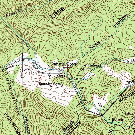 Topographic Map of Dennis Cove School (historical), TN