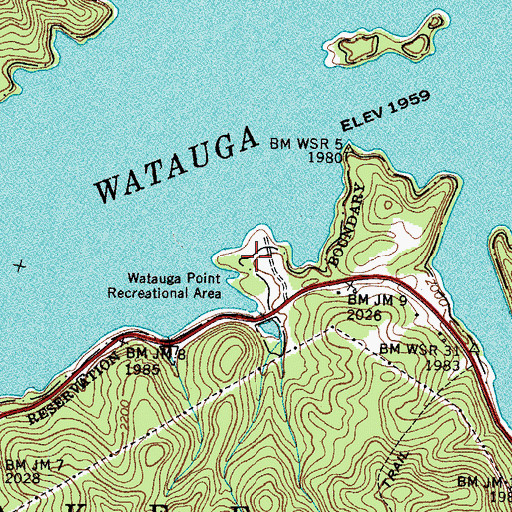 Topographic Map of Watauga Point Recreation Area, TN