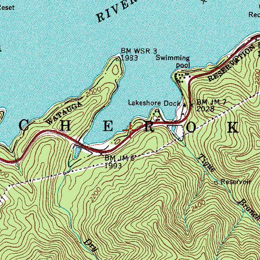Topographic Map of YS Men Picnic Area, TN