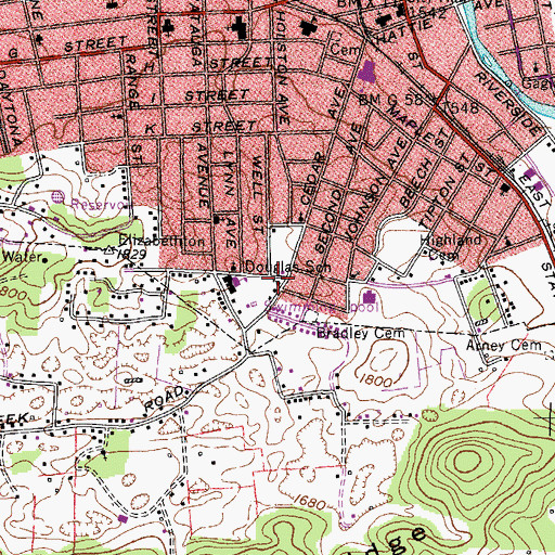 Topographic Map of Browns Chapel Methodist Church, TN