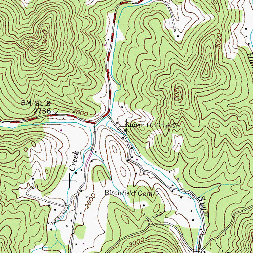 Topographic Map of Sugar Hollow Church, TN