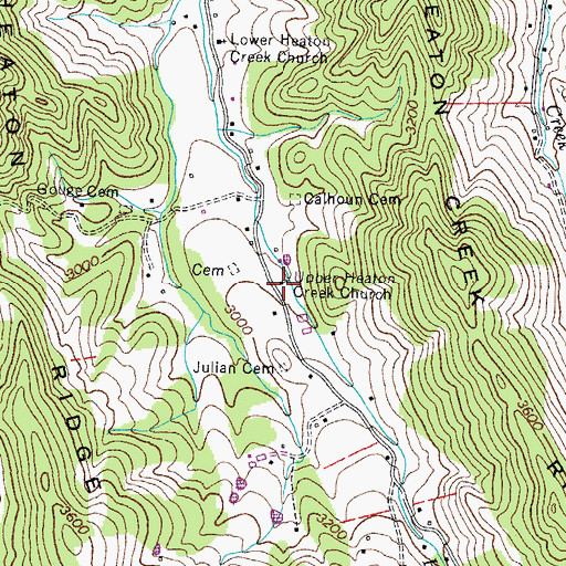 Topographic Map of Upper Heaton Creek Church, TN