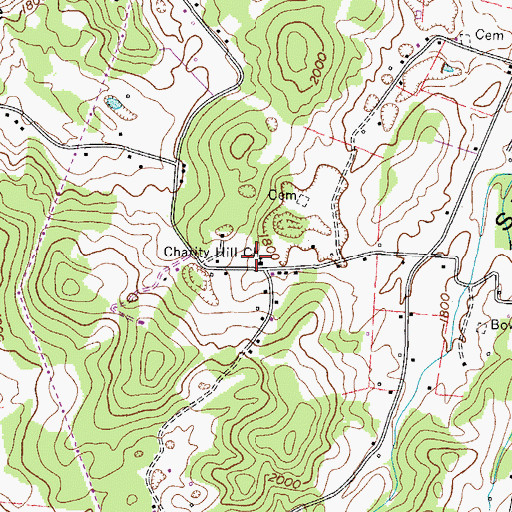 Topographic Map of Charity Hill Church, TN