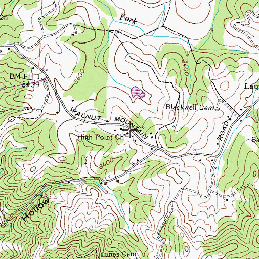 Topographic Map of High Point Church, TN