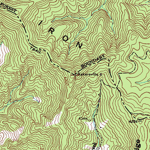 Topographic Map of Iron Mountain, TN