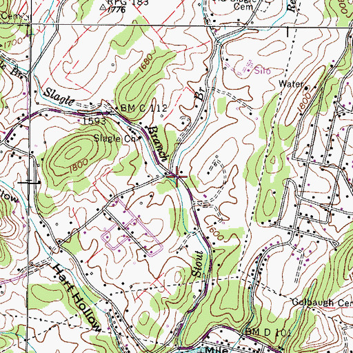 Topographic Map of Slagle Branch, TN