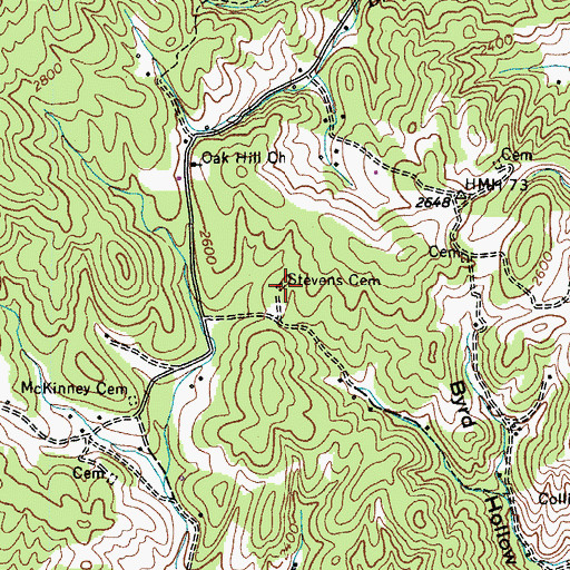 Topographic Map of Stevens Cemetery, TN