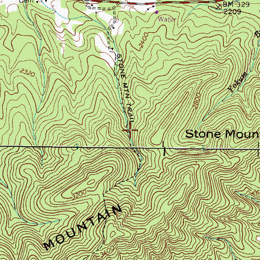 Topographic Map of Stone Mountain Trail, TN