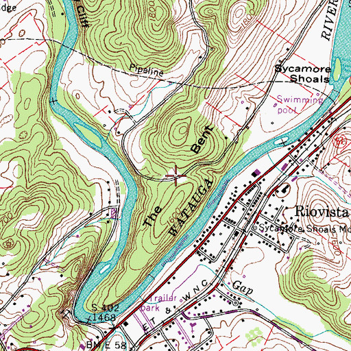 Topographic Map of The Bent, TN