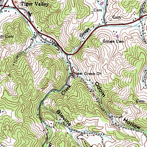 Topographic Map of Tiger Creek Church, TN