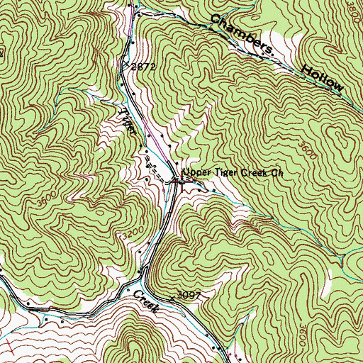Topographic Map of Upper Tiger Creek Church, TN