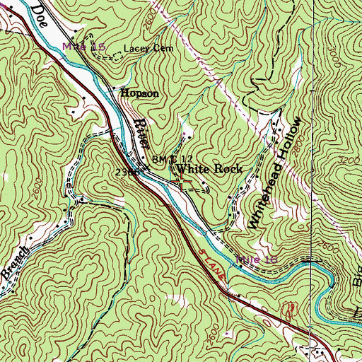 Topographic Map of White Rock, TN