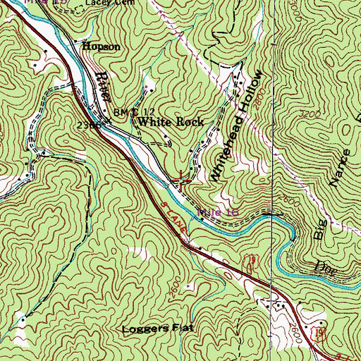 Topographic Map of Whitehead Hollow, TN