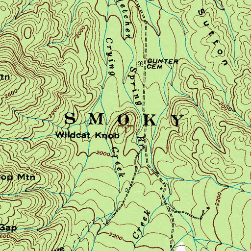 Topographic Map of Wildcat Knob, TN