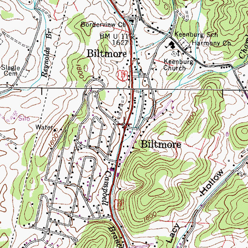 Topographic Map of Biltmore, TN