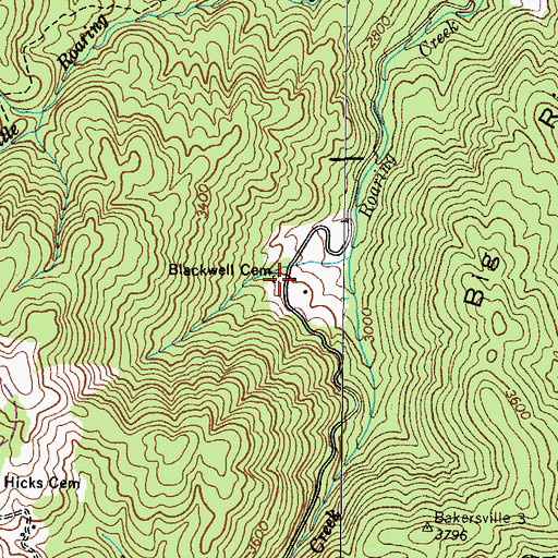 Topographic Map of Blackwell Cemetery, TN