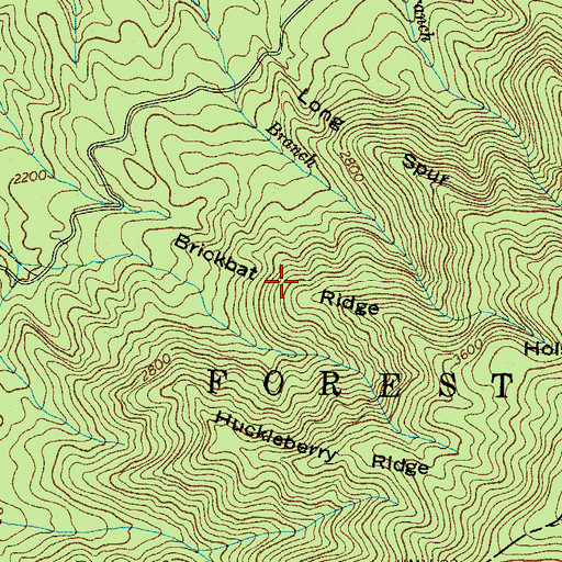 Topographic Map of Brickbat Ridge, TN