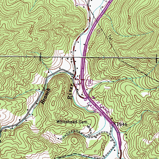 Topographic Map of Browns Branch, TN