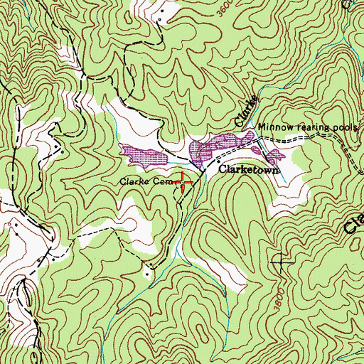 Topographic Map of Clarke Cemetery, TN