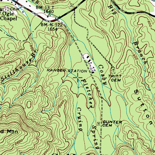 Topographic Map of Crying Creek, TN