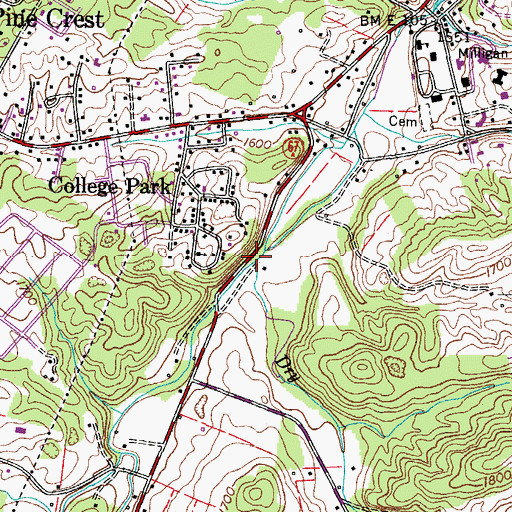 Topographic Map of Dry Creek, TN