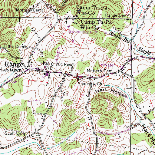 Topographic Map of Fairview Church, TN